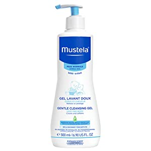 Gentle daily cleanser for hair and body, hypoallergenic, natural formula, tear-free, pump bottle.