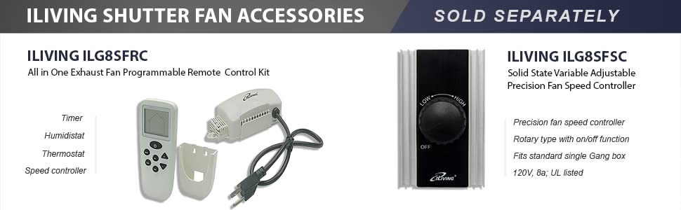 Shutter Fan, Accessories, Timer, Humidistat, Thermostat, Speed Controller, All in one, Adjustable