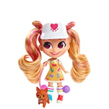 hairdorables, youtube show, kat, dog walker, blonde hair, pink hair, collectible doll
