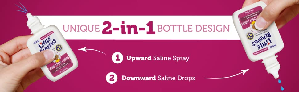 Unique 2-in-1 Bottle Design | 1. Upward Saline Spray 2. Downward Saline Drops