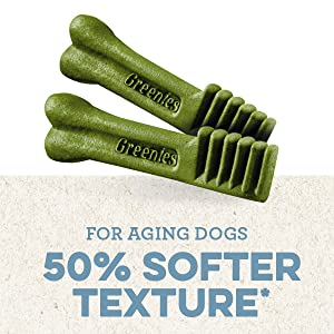 For Aging Dogs, softer texture, For Old Dogs, Senior Dog, Elderly, Greenies Dental Treats