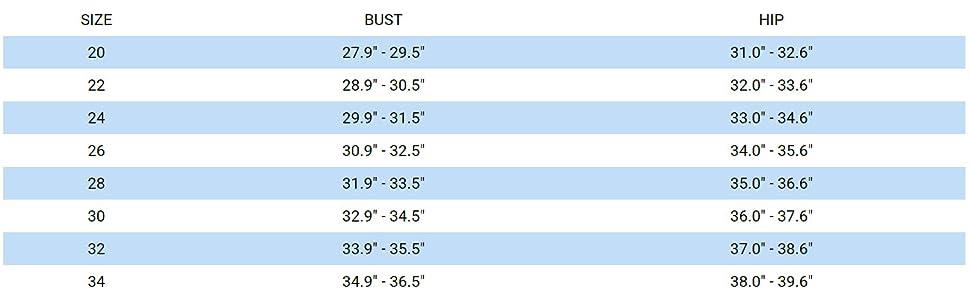 mizuno women's swim size chart