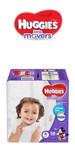 Huggies Little Movers are our best diaper for active babies and include handy do up grip