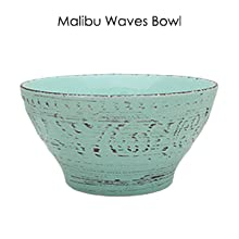turquoise blue emboss tropical stoneware dinnerware dish set setting for 4 microwave dishwasher safe