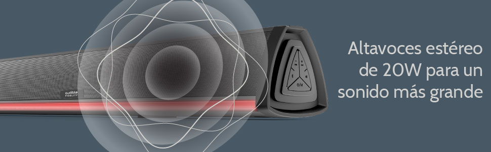 Barra de Sonido con Bluetooth, Audible Fidelity para Videojuegos, Música, TV, Cine en casa