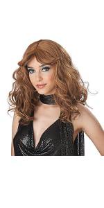 Disco Wig, Women's Wig, Brown, Brunette Wig, 70's, Feathered, 1970's, Seventies, Studio 54, Diva