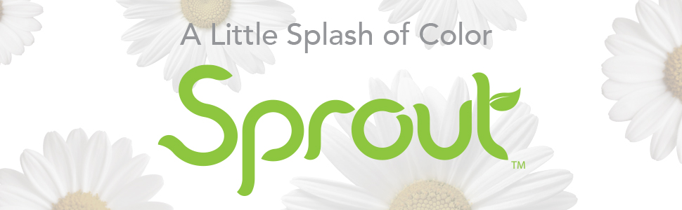 """Sprout logo, """"A Little Splash of Color"""" text on white background with daisies"""
