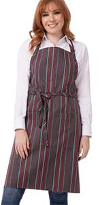 Chef Works Unisex Striped Bib Apron