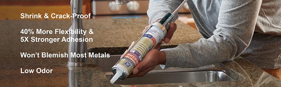 Shrink Crack Proof Flexibility Adhesion Low Odor Sink Kitchen Bathroom Caulk