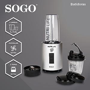 SOGO SS-5520 Nutri-Life Bullet Blender, 1200W, Kit Vasos Sin BPA ...