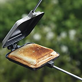 campfire, pies, grill, cast, aluminum, non-stick, coals, hobo, woof, grilled. cheese, sandwich