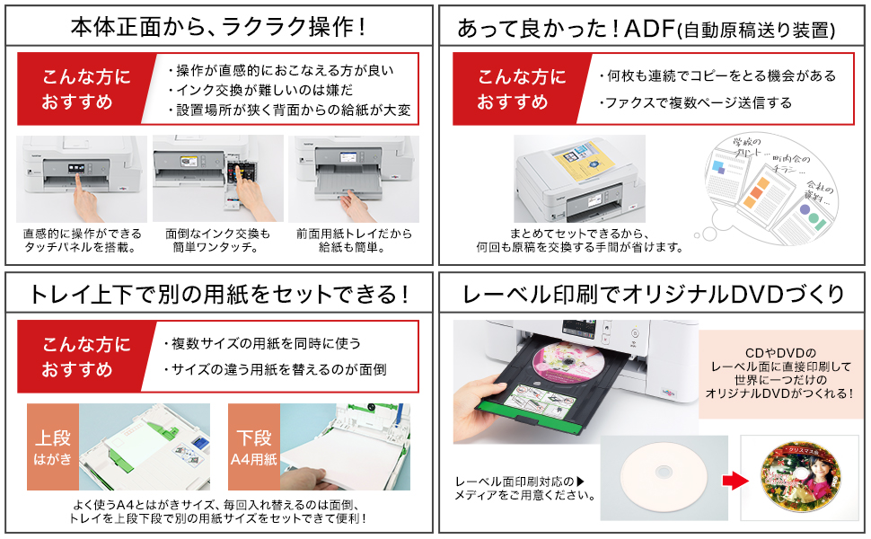 DCP-J987N 機能訴求 フロントオペレーション、ADF、レーベル印刷