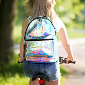 silver JD-SAMD60 Zicac Girls Sliver Holographic Laser Leather Backpack Travel Casual Daypack