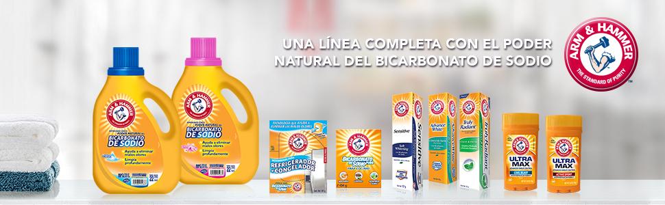 detergente, bicarbonato, pastas, desodorantes, arm and hammer, biccarbonato puro, pastas arm