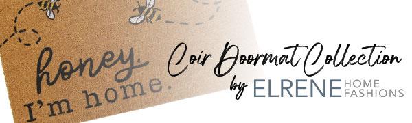 elrene home fashions coir doormat, honey bee, bumble bee rug, bee doormat
