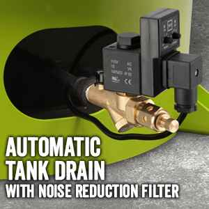 automatic tank drain with noise reduction filter