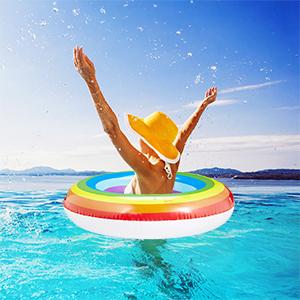 Relaxdays Flotador Arcoíris de Rueda, PVC, Multicolor, 72 cm Ø ...