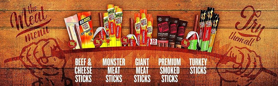 bbq; beef and cheese; cheesy; premium; links; turkey; bites; giant; monster; smoked; thai; memphis;