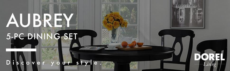 Dorel Living Aubrey 5-Piece Dining Set Black