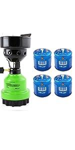 Gas Camping Stove Shisha Coal Lighter Barbecue Lighter 4x Gas Cartridges Lighter