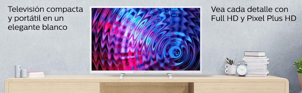 Televisor Philips 32PFS5603/12 32 Pulgadas (80 cm) Televisor LED Full HD Ultrafino (Pixel Plus HD, 2 entradas HDMI con EasyLink, USB, portátil), Color Blanco, Sintonizador Satélite: Philips: Amazon.es: Electrónica