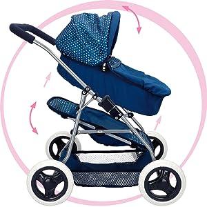 ColorBaby Cochecito de muñecas plegable 3 en 1 Baby Style, Azul(44919)