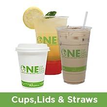 Karat Earth cups,lids and straws