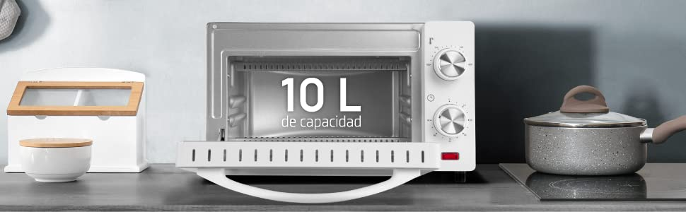 Orbegozo HO 970 - Horno eléctrico, 10 litros de capacidad, calor superior e inferior, temporizador, regulador de temperatura hasta 230°, 650 W, color ...