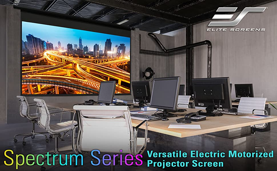 elite screens spectrum electric motorized wall ceiling wide viewing angle bright color contrast