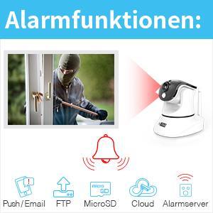 Sehr viele Alarmfunktionen wie Bewegungserkennung / Bewegungsmelder / PIR Wärmesensor Ton Erkennung