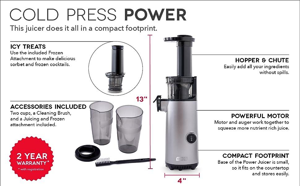 Juicer, cold press juicer, nut milk, juicing, frozen fruit, sorbet