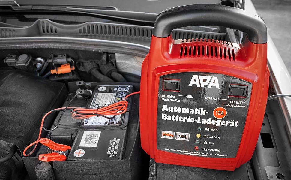 Apa 16629 Automatik Batterie Ladegerät 12 V 12 A Auto