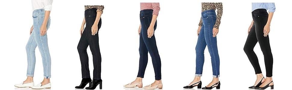 denim, skinny, straight, roll cuff, girlfriend, jeans, pull on