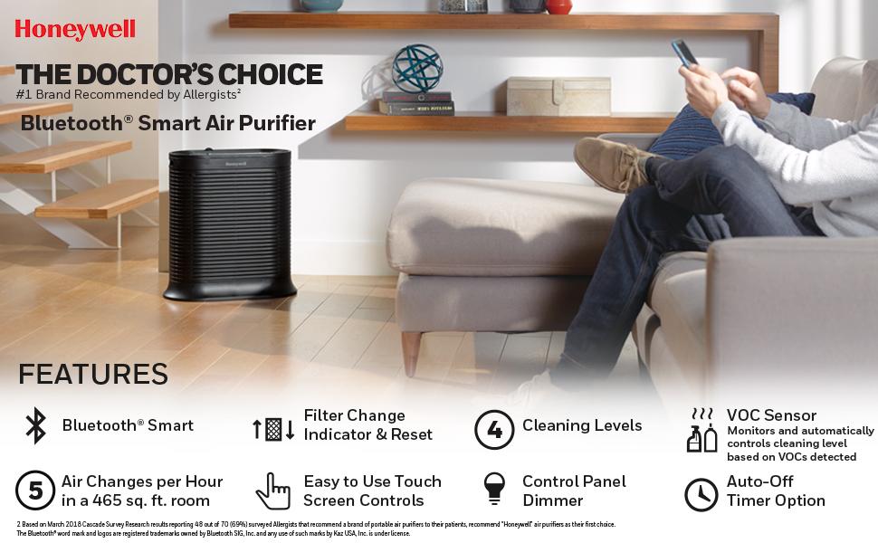 Honeywell Bluetooth Smart True Allergen Remover HEPA Air Purifier ...