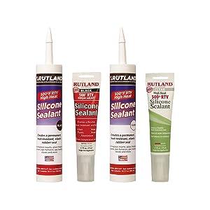 Rutland Products, Silicone Sealants, adhesives, hi-temp, black, clear