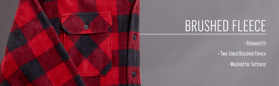 Authentics Long Sleeve Plaid Fleece Shirt