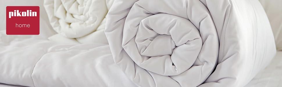 300g//m/² Pikolin Home Couette en fibre hypoallerg/énique et r/éversible 240x260cm-Lit 180 automne//hiver
