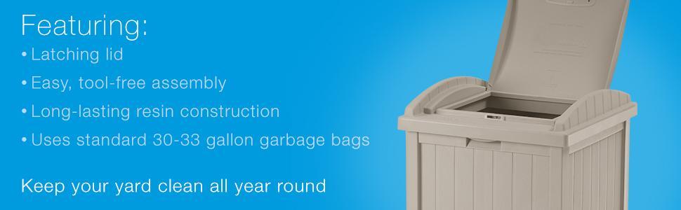 Amazon Com Suncast 33 Gallon Hideaway Trash Can For Patio