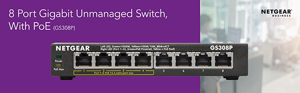 8 Port gigabit unmanaged switch with poe gs308p