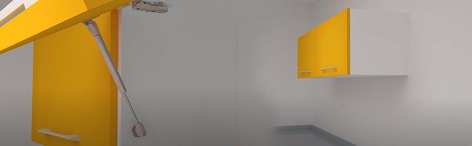 Emuca 1273925 Kit pistón amortiguador fuerza 12Kg carrera/recorrido 100mm para puertas abatibles de mueble/cocina/baño, Gris (Peint Aluminium/Nickelé), 12 kg 100 mm (1 unidad): Amazon.es: Bricolaje y herramientas