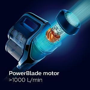 PowerBlade digital motor creates high airflow (>1000 L/min)