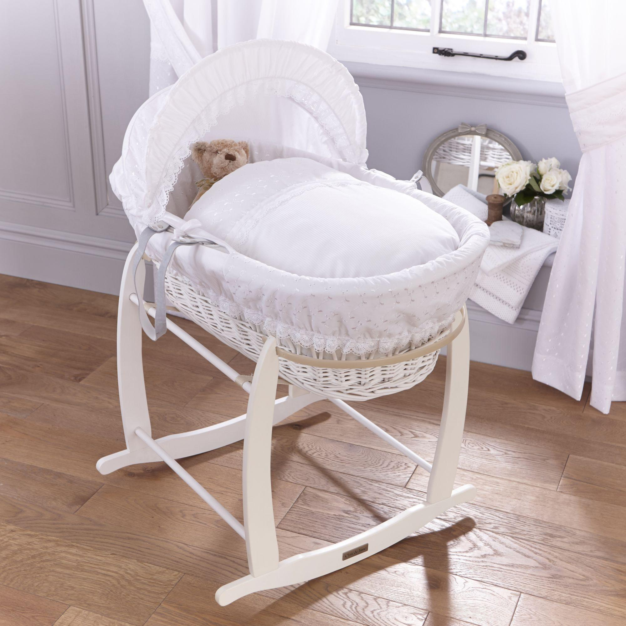 Handmade Wicker Moses Basket : Clair de lune vintage charcoal wicker moses basket white
