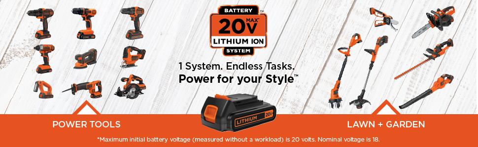 20v power tools, lithium ion cordless tools, black and decker tools