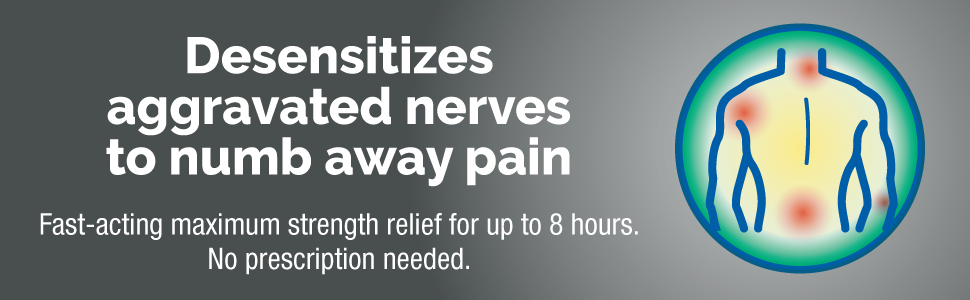 desensitizes aggravated nerves to numb away pain. fast acting max strength relief for up to 8 hours