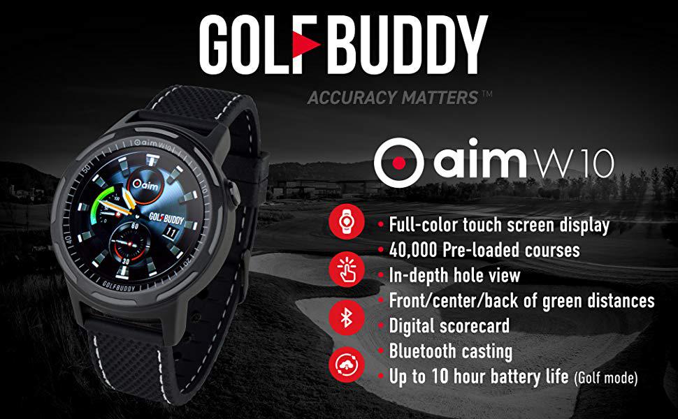GOLFBUDDY, aim V10, Golf Rangefinder, GPS Rangefinder, Golf GPS, Rangefinder, Smartwatch, Watch