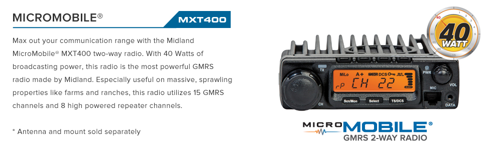 Midland - MXT400, 40 Watt GMRS MicroMobile Two-Way Radio - Up to 65 Mile  Range Walkie Talkie, 8 Repeater Channels, 142 Privacy Codes (Single Pack)