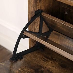 Schuhaufbewahrung VASAGLE Schuhschrank mit 2 Klappen vintagebraun LBC040X01 Schuh-Organizer Pflegeleichte Melaminbeschichtung 60 x 24 x 102 cm Schuhregal mit Zusatzfach