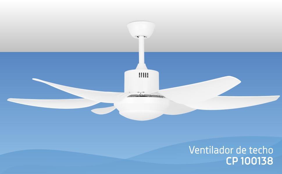 Orbegozo CP 100138 Ventilador de techo, 6 aspas ABS, mando a ...