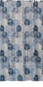 SKL Home Cubes Bath Blue Grey Geometric Stripes