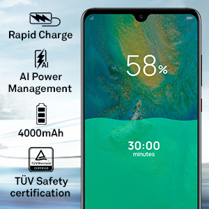 4000mAh large battery and rapid charge with AI power management